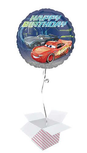 Cars 3 Happy Birthday Round Foil Helium Balloon - Inflated Balloon in a Box Product Image