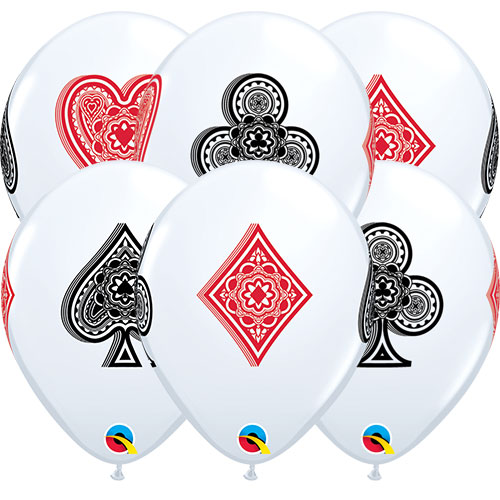Casino Card Suits Latex Helium Qualatex Balloons 28cm / 11 in - Pack of 10