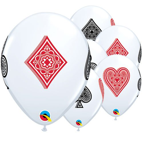 Casino Card Suits Latex Helium Qualatex Balloons 28cm / 11 in - Pack of 25
