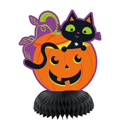 Cat & Pumpkin Halloween Honeycomb Centrepieces Table Decorations - Pack of 3 Product Image