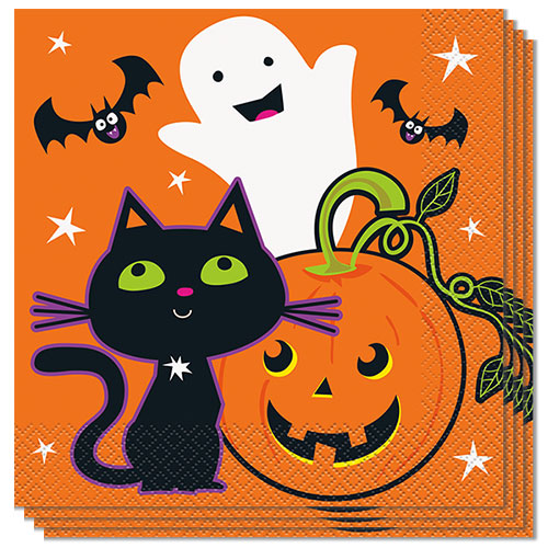 Cat & Pumpkin Halloween Luncheon Napkins 33cm 2Ply - Pack of 16 Product Image
