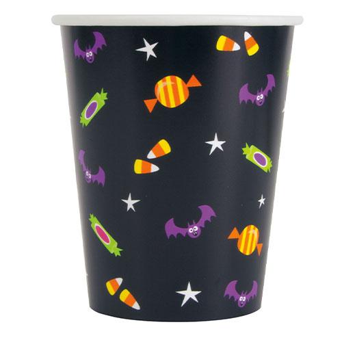 Cat & Pumpkin Halloween Paper Cups 270ml - Pack of 8