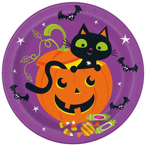 Cat & Pumpkin Halloween Round Paper Plates 22cm - Pack of 8