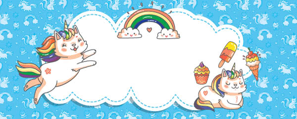 Caticorn And Treats Design Medium Personalised Banner - 6ft x 2.25ft