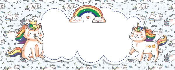 Caticorn Baby Blue Design Small Personalised Banner - 4ft x 2ft