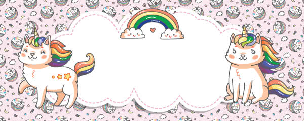 Caticorn Baby Pink Design Medium Personalised Banner - 6ft x 2.25ft