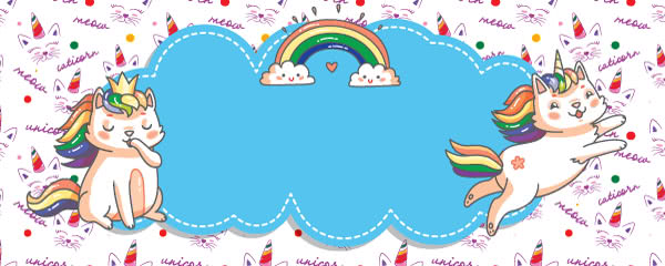 Caticorn Meow Design Small Personalised Banner - 4ft x 2ft