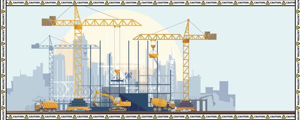 Caution Construction Cranes Design Medium Personalised Banner – 6ft x 2.25ft