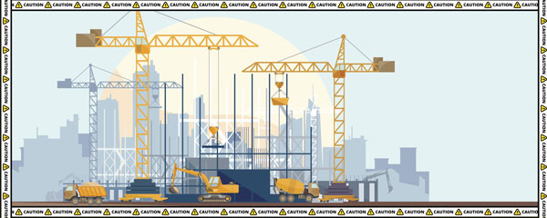 Caution Construction Cranes Design Small Personalised Banner – 4ft x 2ft