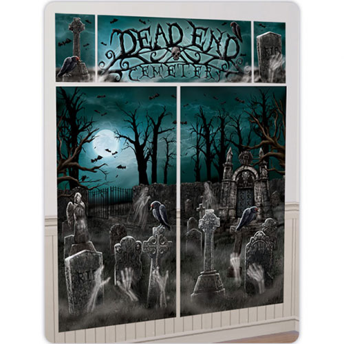 Cemetery Halloween Backdrop Scene Setter Add-On Wall Decorating Kit