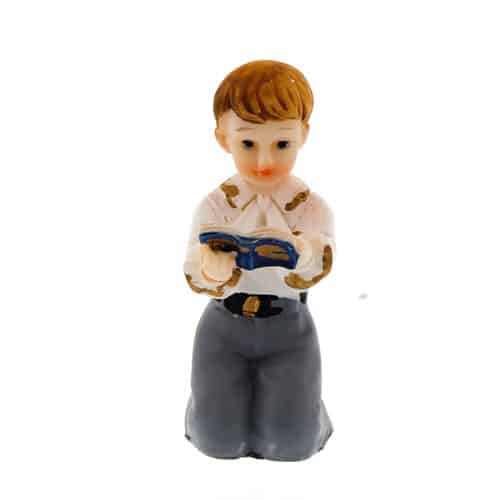Ceramic Reading Boy Cake Topper Product Image