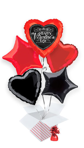 Chalkboard Script Valentine's Balloon Bouquet - 5 Inflated Balloons In A Box Product Image