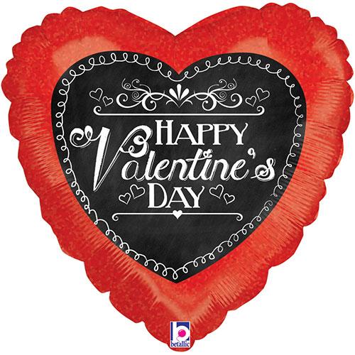 Chalkboard Script Valentines Holographic Foil Helium Balloon 46cm / 18Inch Bundle Product Image