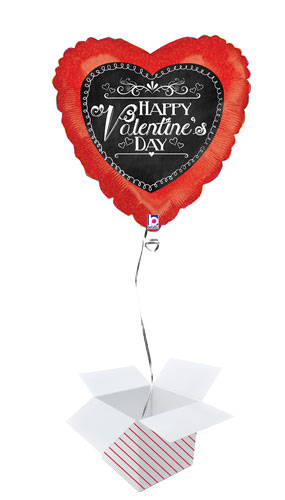 Chalkboard Script Valentines Holographic Foil Helium Balloon - Inflated Balloon in a Box Product Image