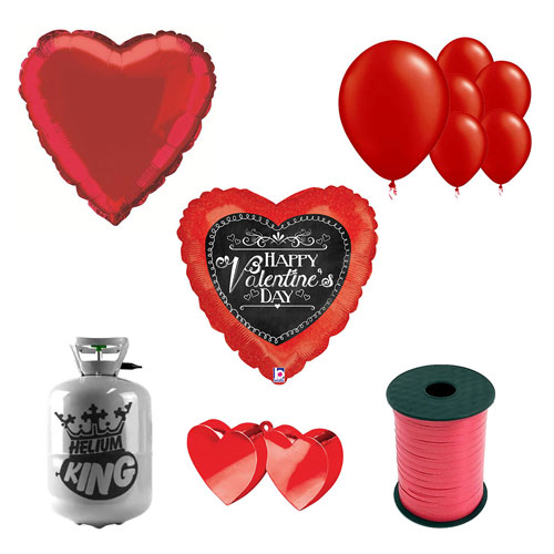 Chalkboard Script Valentine's Small Helium Gas Package With Balloons