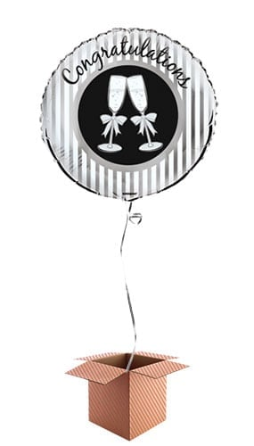 Champagne Toast Congratulations Round Foil Balloon - Inflated Balloon in a Box Product Image