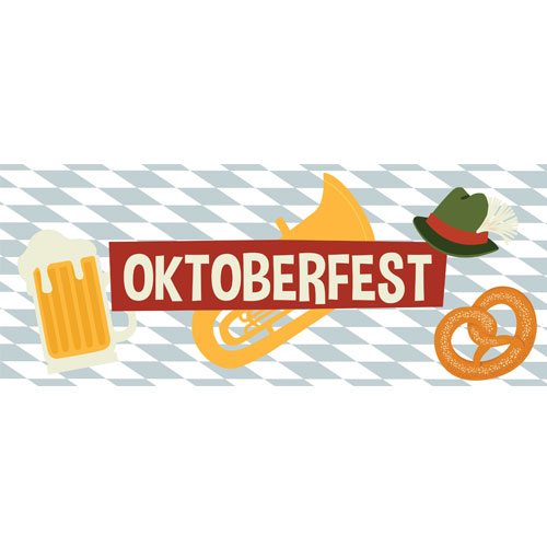 Checkered Oktoberfest Large PVC Banner Decoration 3m x 1.2m Product Image