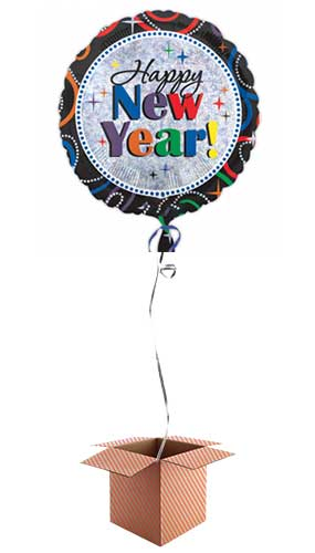 Cheers To A New Year Round Foil Balloon - Inflated Balloon in a Box