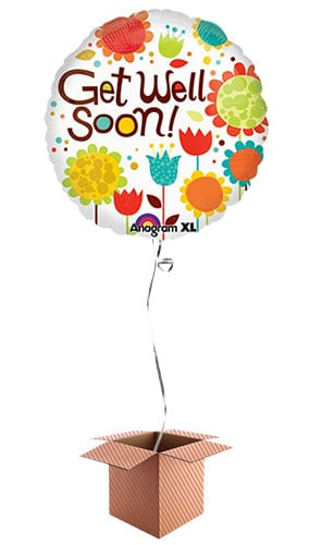 Cheery Flowers Get Well Soon Foil Balloon - Inflated Balloon in a Box