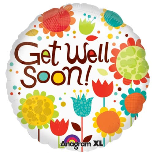 Cheery Flowers Get Well Foil Helium Balloon 46cm / 18Inch Product Image