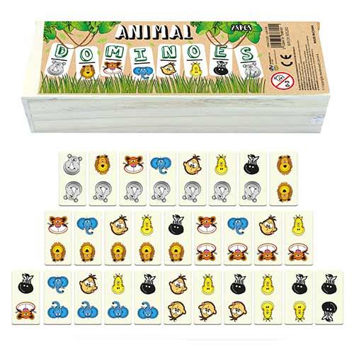 Children's Animal Dominoes Game in Wooden Box