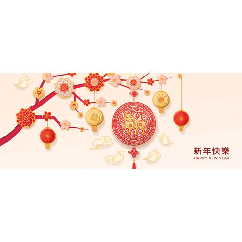 Chinese New Year 2021 Blossom Tree PVC Party Sign Decoration 60cm x 25cm