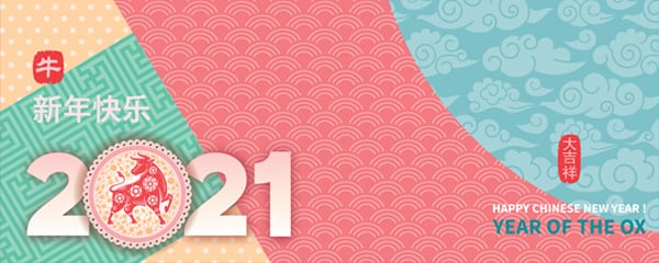 Chinese New Year 2021 Mixed Patterns Design Small Personalised Banner – 4ft x 2ft