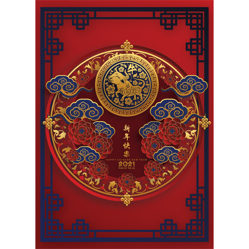 Chinese New Year 2021 Ornaments A3 Poster PVC Party Sign Decoration 42cm x 30cm