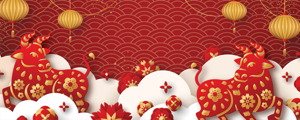 Chinese New Year 2021 White Clouds Design Medium Personalised Banner – 6ft x 2.25ft
