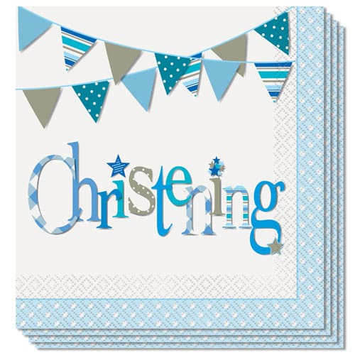 Christening Blue Luncheon Napkins 2Ply 33cm Pack Of 16