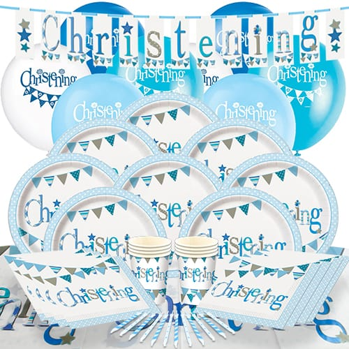 Christening Blue Theme 8 Person Delux Party Pack