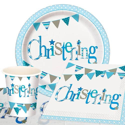 Christening Blue Theme 8 Person Value Party Pack