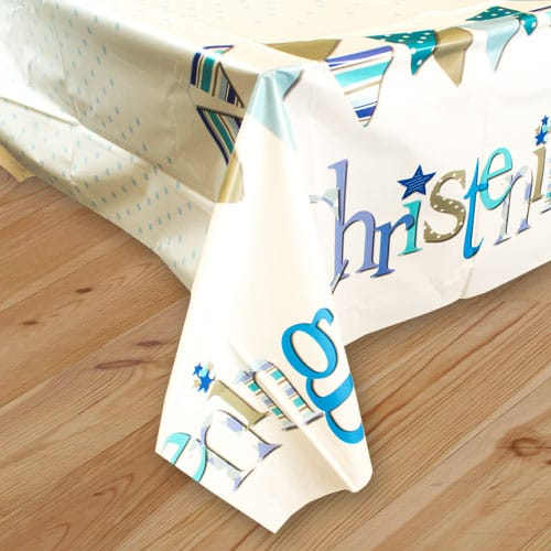 Christening Blue Plastic Tablecover 213cm x 137cm Product Image