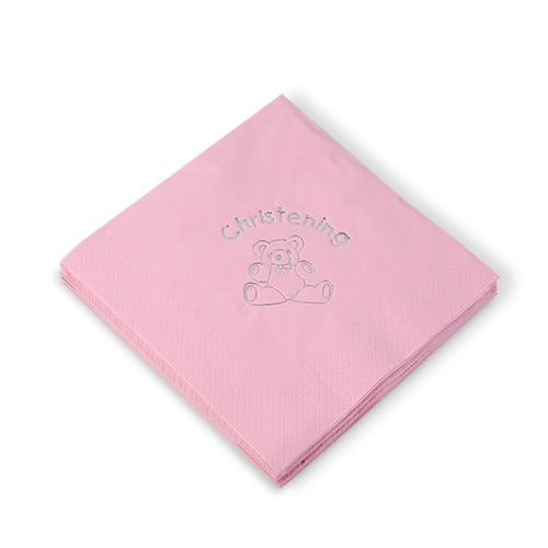 Christening Pink 3 Ply Napkins - 16 Inches / 40cm - Pack of 15