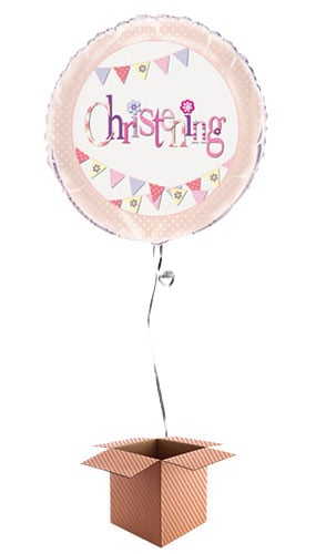 Christening Pink Foil Balloon - Inflated Balloon in a Box