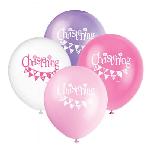 Christening Pink Biodegradable Latex Balloons 30cm -Pack Of 8 Bundle Product Image