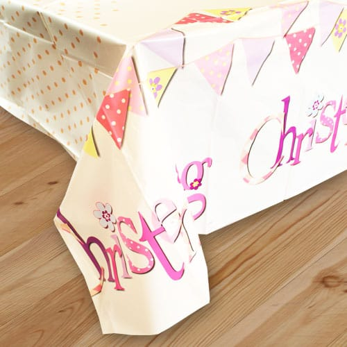 Christening Pink Plastic Tablecover 213cm x 137cm Bundle Product Image
