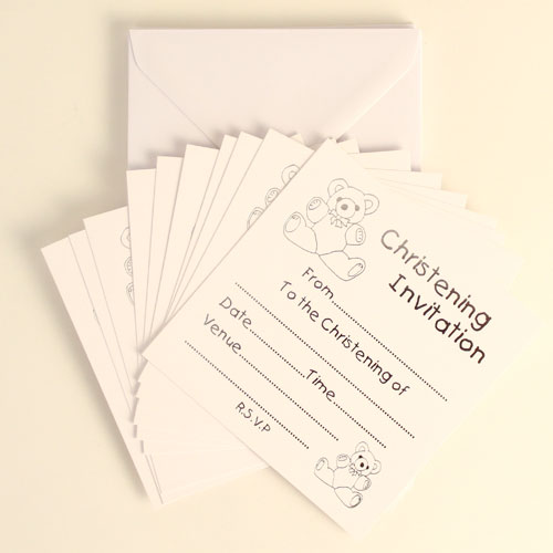 Christening White Invitations With Silver Print And Envelopes - Pack of 10