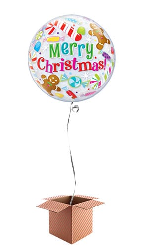 Christmas Candies And Treats Bubble Helium Qualatex Balloon - Inflated Balloon in a Box Product Image