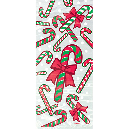 Christmas Candy Cane Cello Bags With Twist Ties - Pack of 20