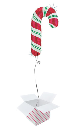 Christmas Candy Cane Helium Foil Giant Balloon - Inflated Balloon in a Box Product Image