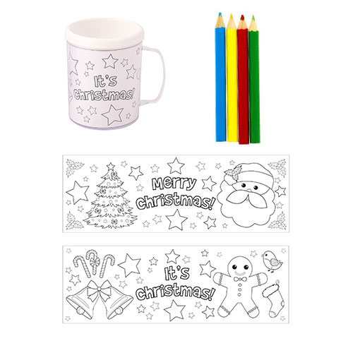Christmas Colouring Mug With Pencils Product Image