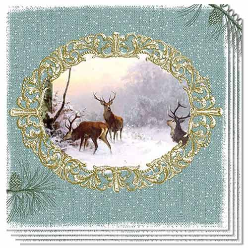 Christmas Elegant Deers Green Luncheon Napkins 3Ply 33cm - Pack of 50 Product Image