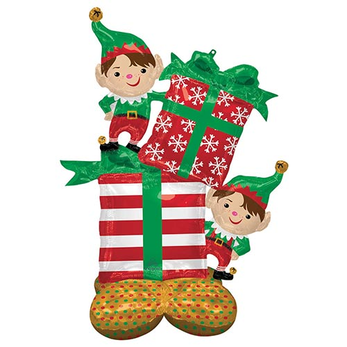 Christmas Elves Airloonz Air Fill Giant Foil Balloon 134cm / 53 in Product Image