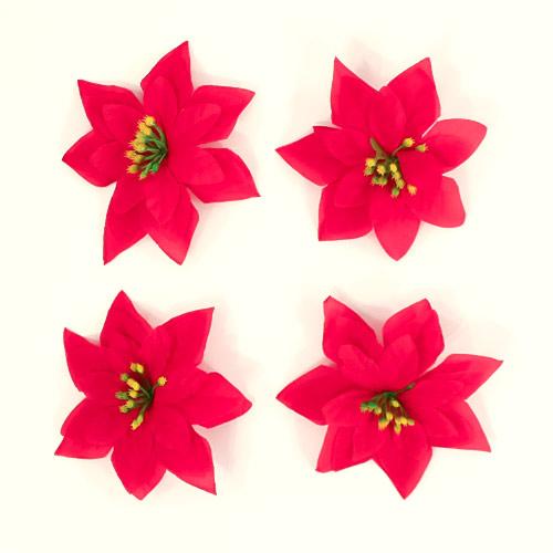 Christmas Fabric Poinsettia Embellishments 11cm - Pack of 4 Product Image