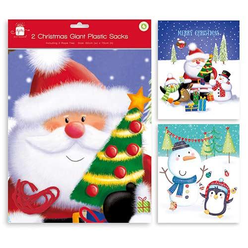 Christmas Festive Fun Giant Assorted Plastic Sacks 75cm - Pack of 2 Product Image