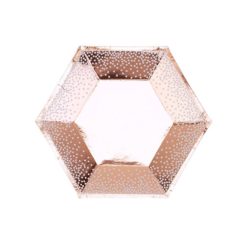 Christmas Foil Rose Gold & White Dots Paper Plates 20cm - Pack of 8