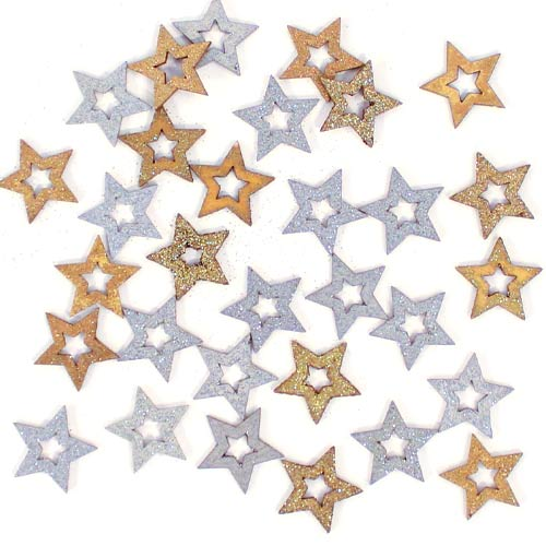 Christmas Glitter Wooden Star Embellishments - Pack of 30 Product Image