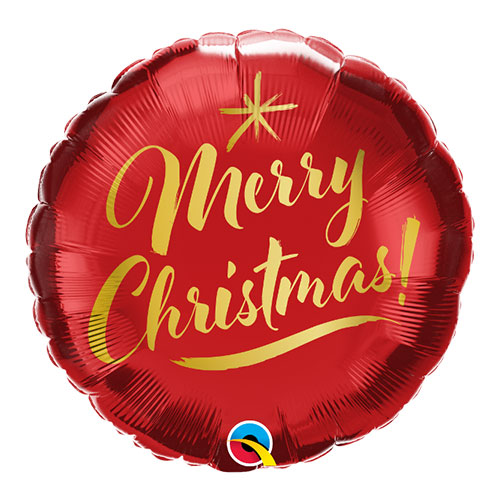 Christmas Gold Script Round Foil Helium Qualatex Balloon 46cm / 18 in Product Image
