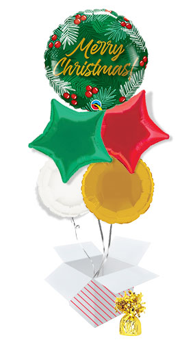 Christmas Green & Berries Balloon Bouquet - 5 Inflated Balloons In A Box Product Image